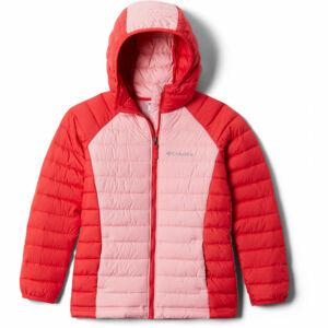 Columbia POWDER LITE GIRLS HOODED JACKET červená XS - Dětská bunda
