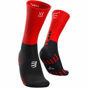 Compressport MID COMPRESSION SOCKS červená T4 - Vysoké běžecké ponožky