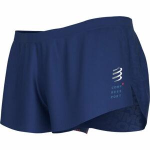 Compressport RACING SPLIT SHORT M modrá L - Pánské běžecké šortky