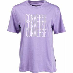 Converse LOGO REMIX TEE fialová S - Pánské tričko