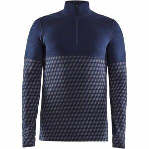 Craft MERINO 240 ZIP LS modrá M - Pánské funkční triko
