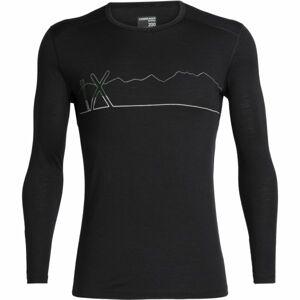 Icebreaker OASIS LS CREWE SINGLE LINE SKI černá XXL - Funkční triko z merina