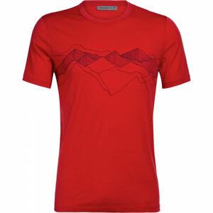 Icebreaker TECH LITE SS CREWE PEAK PATTERNS červená L - Pánské funkční tričko
