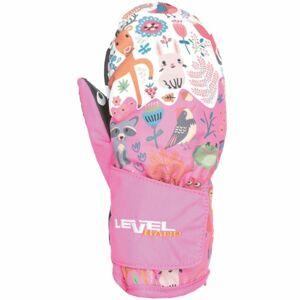 Level ANIMAL růžová 1 - Voděodolné celozateplené rukavice