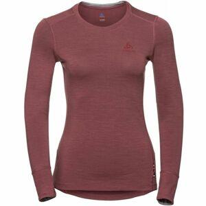 Odlo SUW TOP CREW NECK L/S NATURAL 100% MERINO červená S - Dámské tričko s dlouhým rukávem