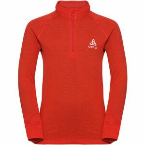 Odlo SUW KIDS TOP L/S 1/2 ZIP TURTLE NECK ACTIVE WARM červená 128 - Dětské tričko