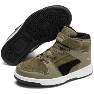 Puma REBOUND LAYUP FUR SD V PS tmavě zelená 10.5 - Dětská volnočasová obuv
