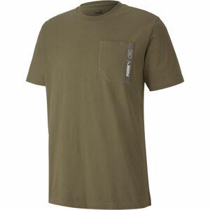 Puma NU-TILITY POCKET TEE tmavě zelená M - Pánské triko