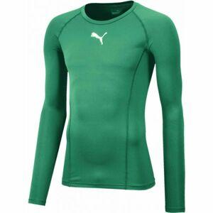 Puma LIGA BASELAYER TEE LS zelená XL - Pánské funkční triko