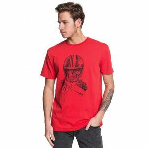 Quiksilver SKULL OPEN FACE SS červená S - Pánské tričko