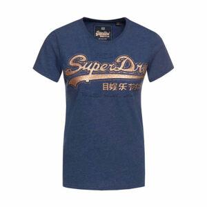 Superdry VINTAGE LOGO GLITTER OUTLINE EMBOSS ENTR tmavě modrá L - Dámské tričko