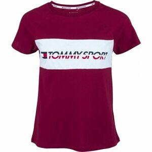 Tommy Hilfiger BLOCKED TEE LOGO vínová L - Dámské tričko